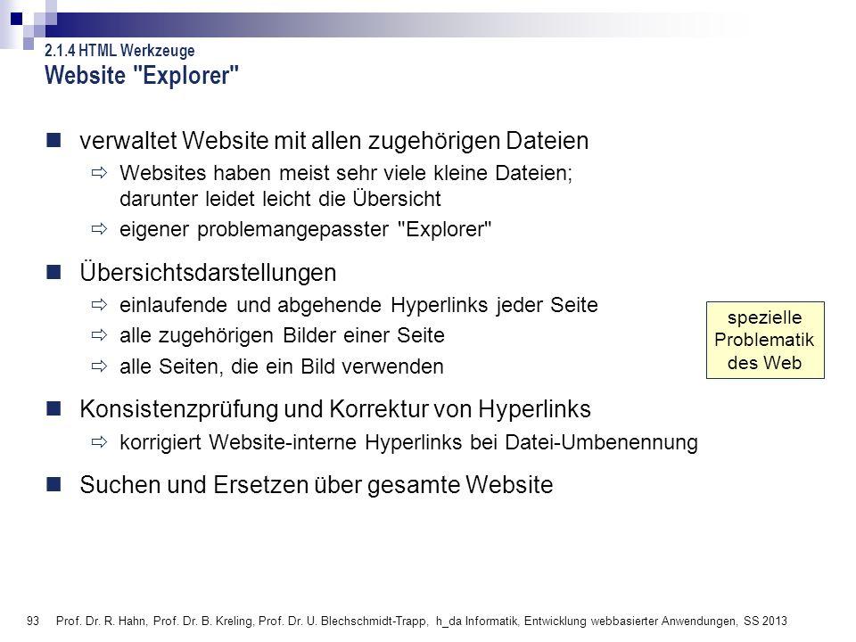 Website Explorer verwaltet Website mit allen zugehörigen Dateien