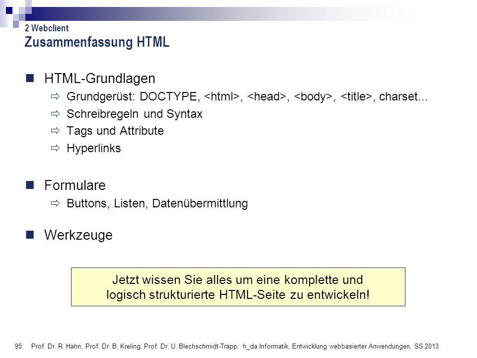Zusammenfassung HTML HTML-Grundlagen Formulare Werkzeuge