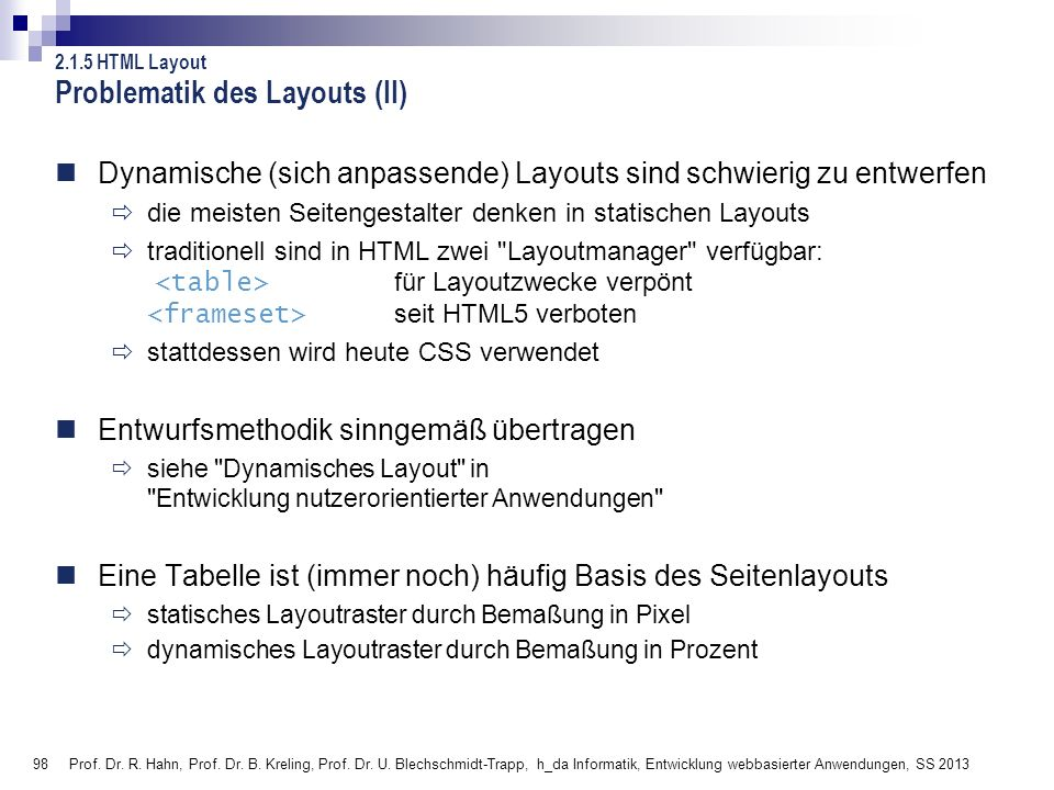 Problematik des Layouts (II)