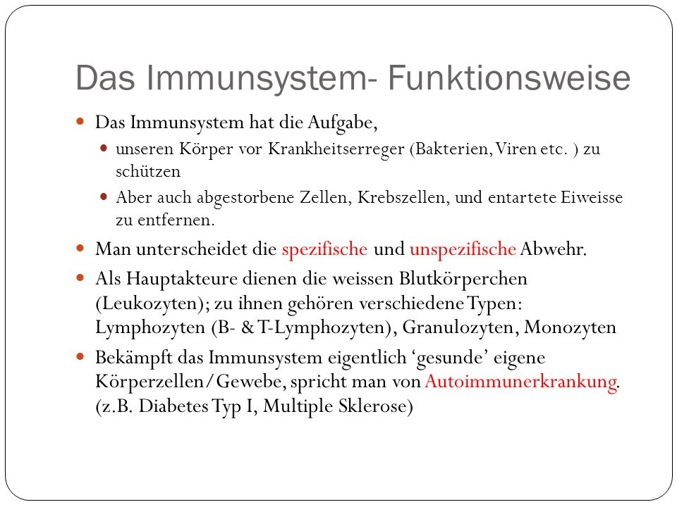Das Immunsystem- Funktionsweise