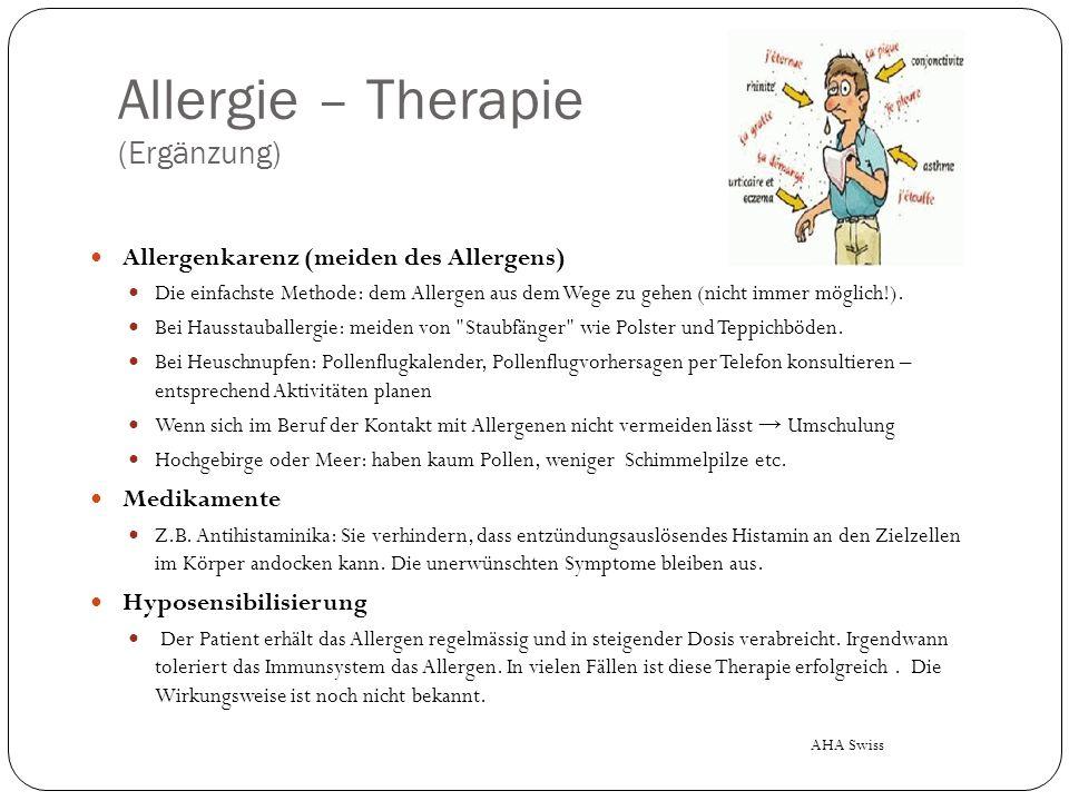 Allergie – Therapie (Ergänzung)
