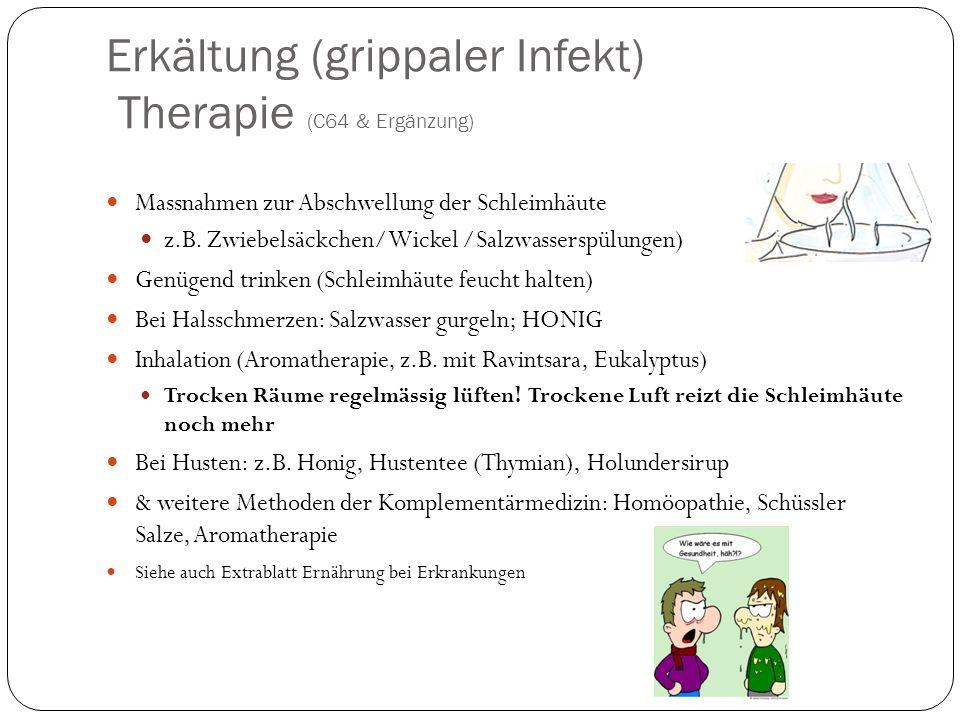 Erkältung (grippaler Infekt) Therapie (C64 & Ergänzung)