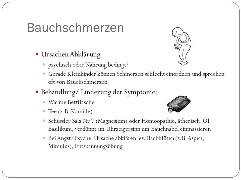 Bauchschmerzen Ursachen Abklärung Behandlung/ Linderung der Symptome: