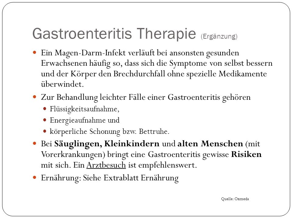 Gastroenteritis Therapie (Ergänzung)
