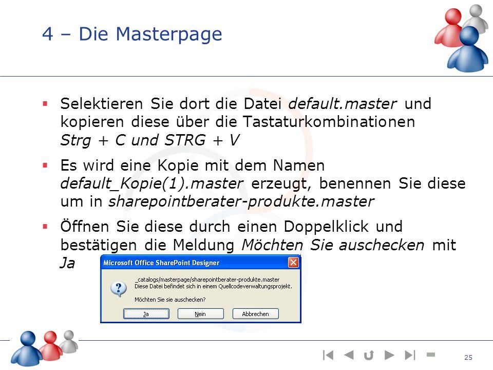 4 – Die Masterpage Selektieren Sie dort die Datei default.master und kopieren diese über die Tastaturkombinationen Strg + C und STRG + V.