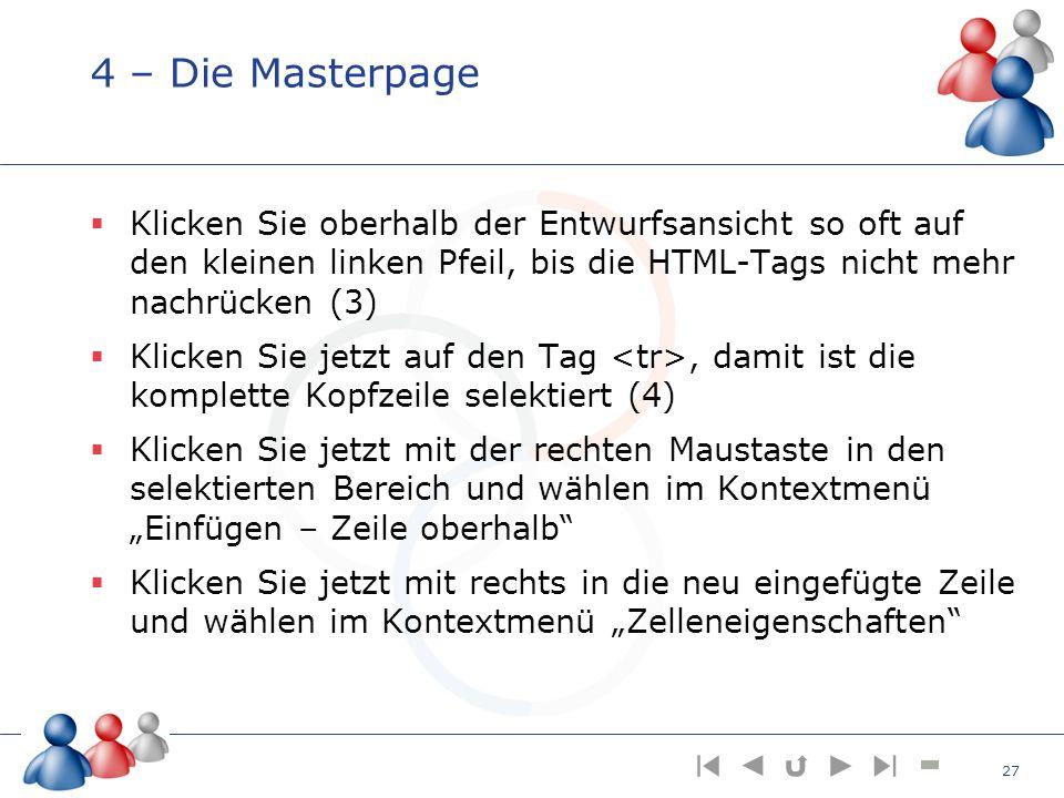 4 – Die Masterpage Klicken Sie oberhalb der Entwurfsansicht so oft auf den kleinen linken Pfeil, bis die HTML-Tags nicht mehr nachrücken (3)