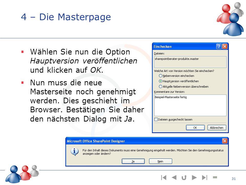 4 – Die Masterpage Wählen Sie nun die Option Hauptversion veröffentlichen und klicken auf OK.