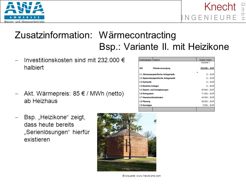 Zusatzinformation: Wärmecontracting Bsp.: Variante II. mit Heizikone