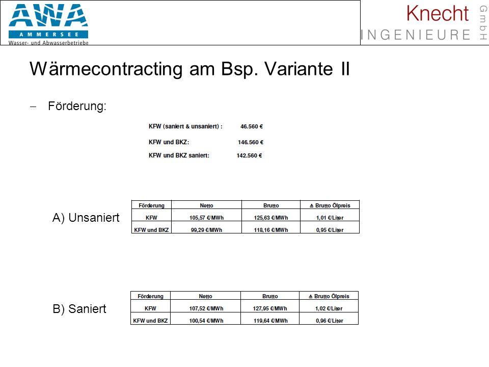 Wärmecontracting am Bsp. Variante II