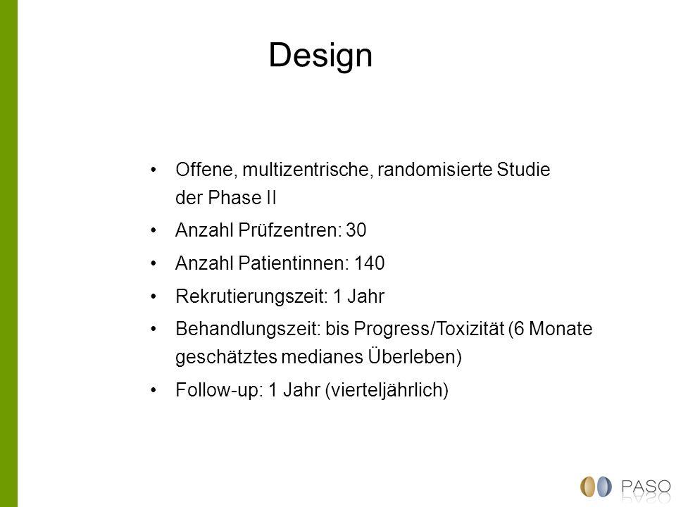 Design Offene, multizentrische, randomisierte Studie der Phase II