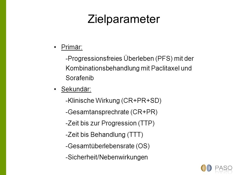 Zielparameter Primär: