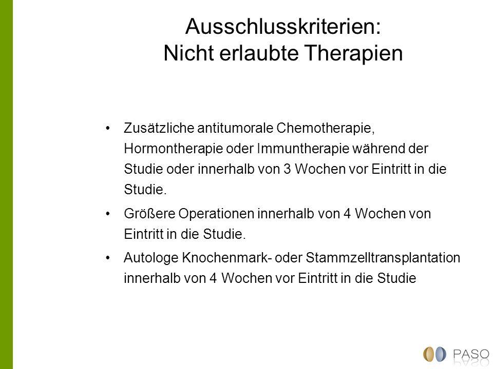 Ausschlusskriterien: Nicht erlaubte Therapien