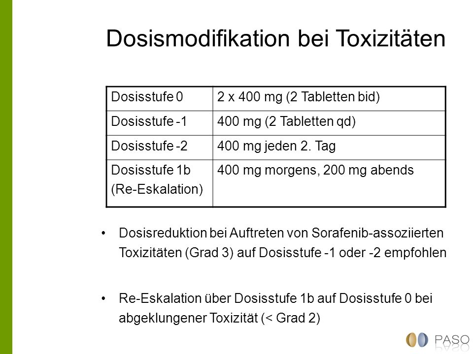 Dosismodifikation bei Toxizitäten