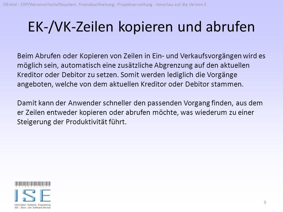 EK-/VK-Zeilen kopieren und abrufen