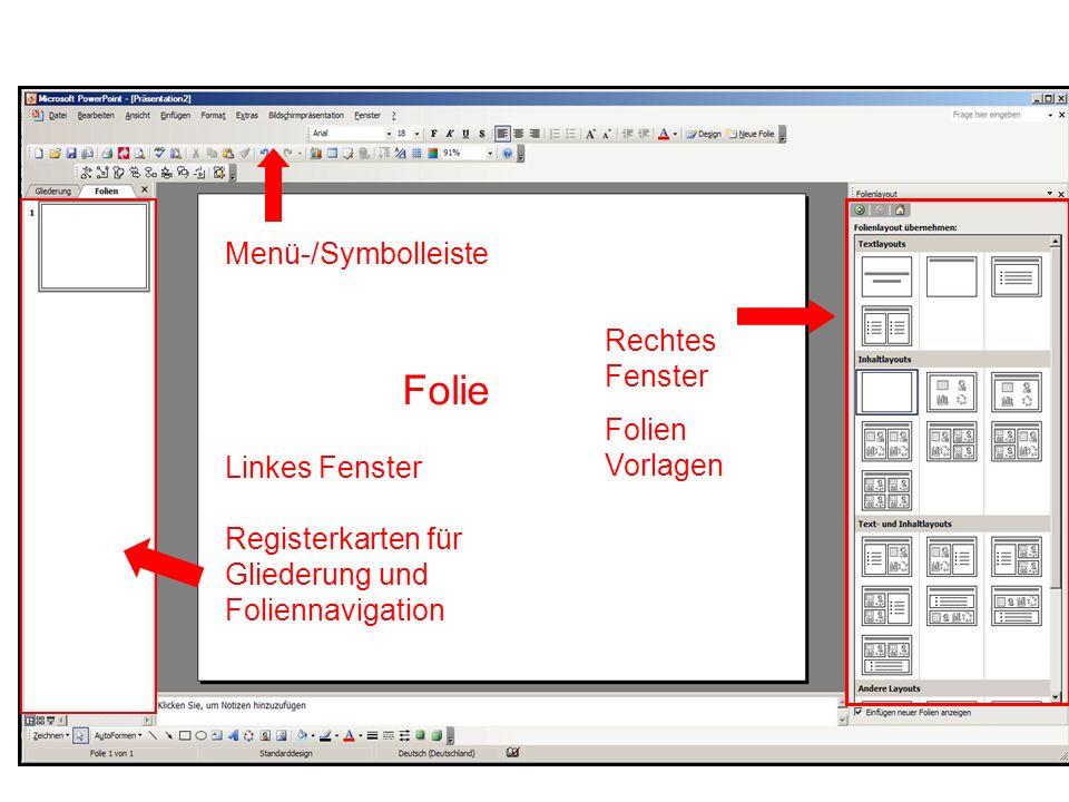 Folie Menü-/Symbolleiste Rechtes Fenster Folien Vorlagen