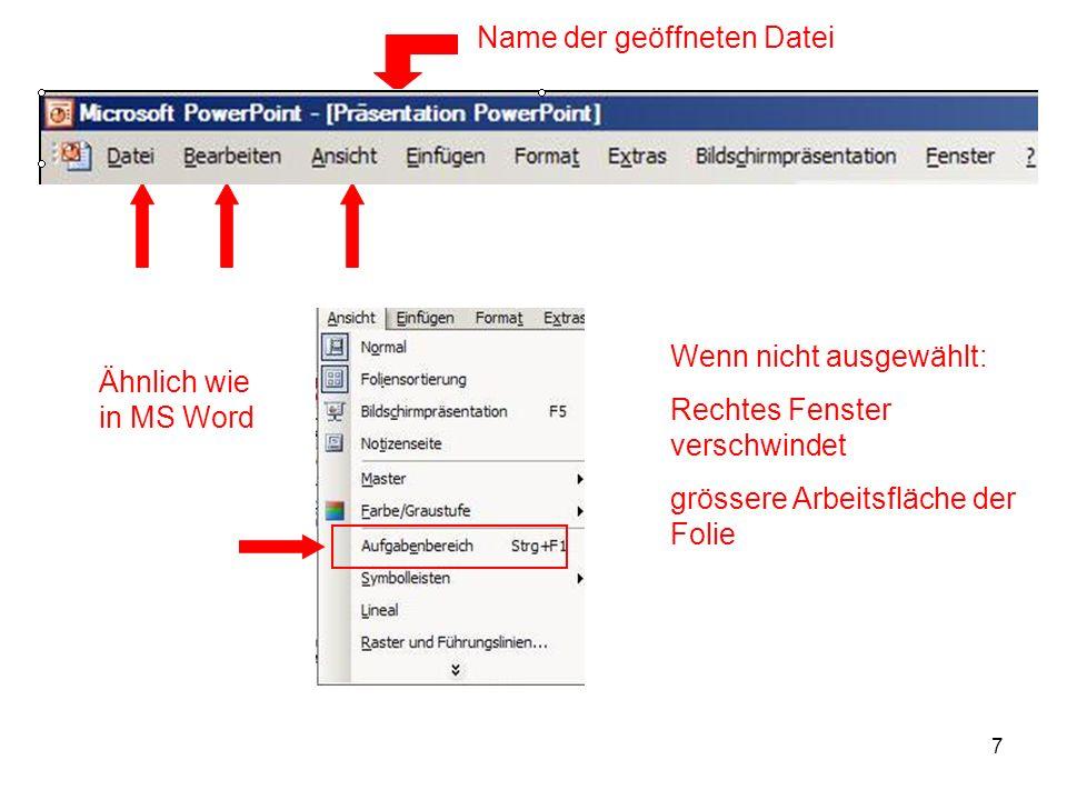 Name der geöffneten Datei