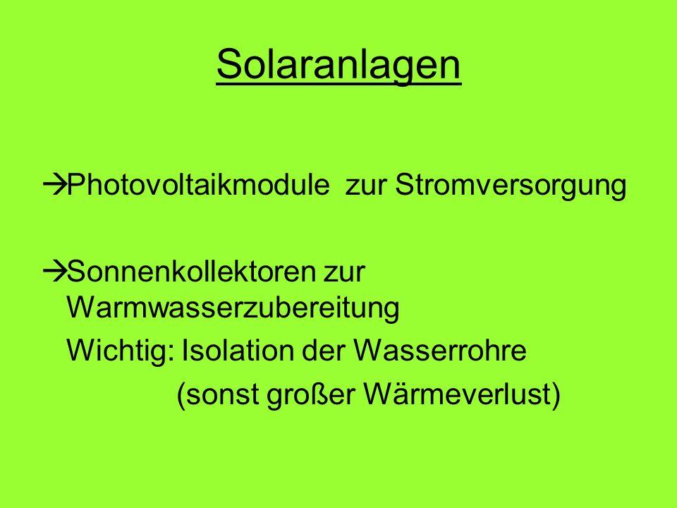 Solaranlagen Photovoltaikmodule zur Stromversorgung
