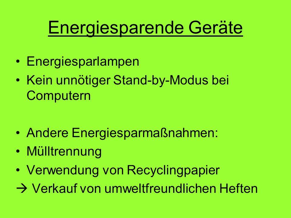 Energiesparende Geräte