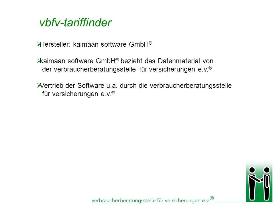 vbfv-tariffinder Hersteller: kaimaan software GmbH®