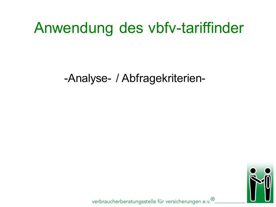Anwendung des vbfv-tariffinder