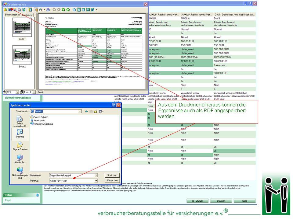 Aus dem Druckmenü heraus können die Ergebnisse auch als PDF abgespeichert werden.