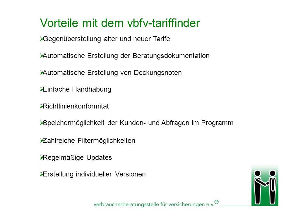 Vorteile mit dem vbfv-tariffinder