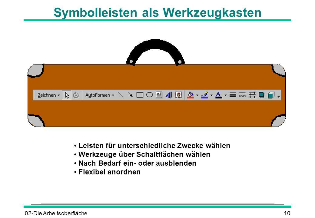 Symbolleisten als Werkzeugkasten