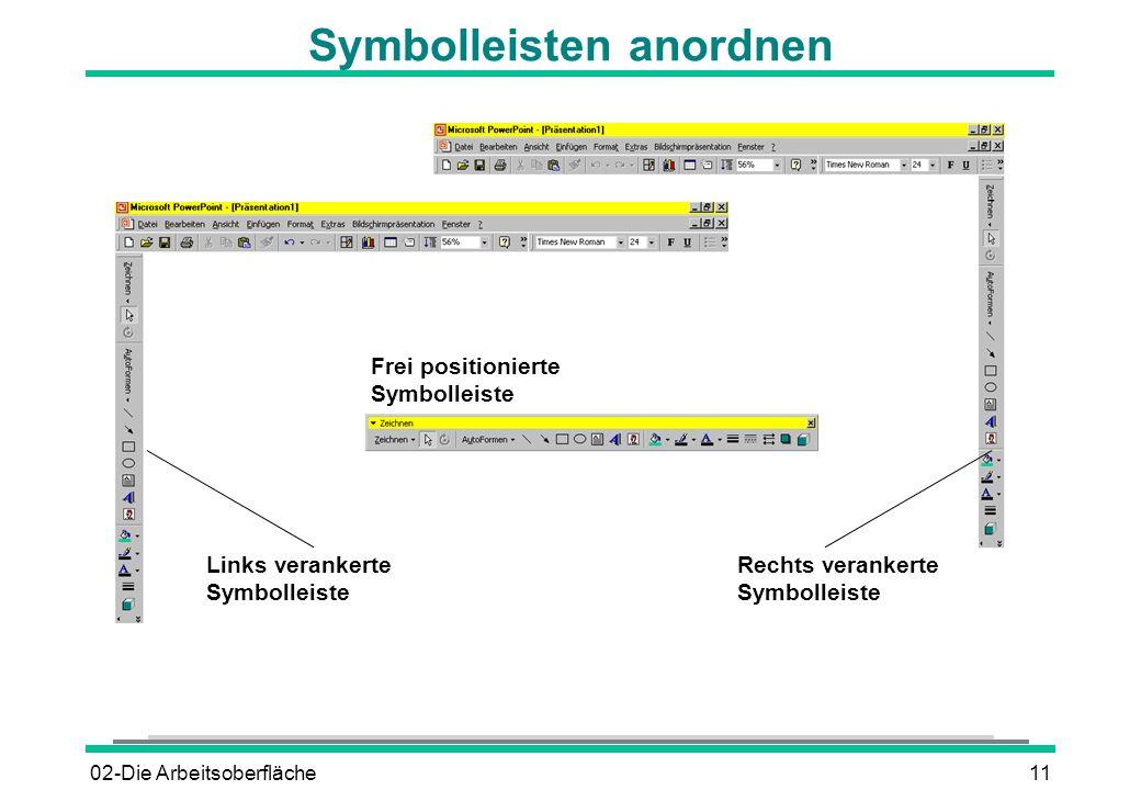 Symbolleisten anordnen