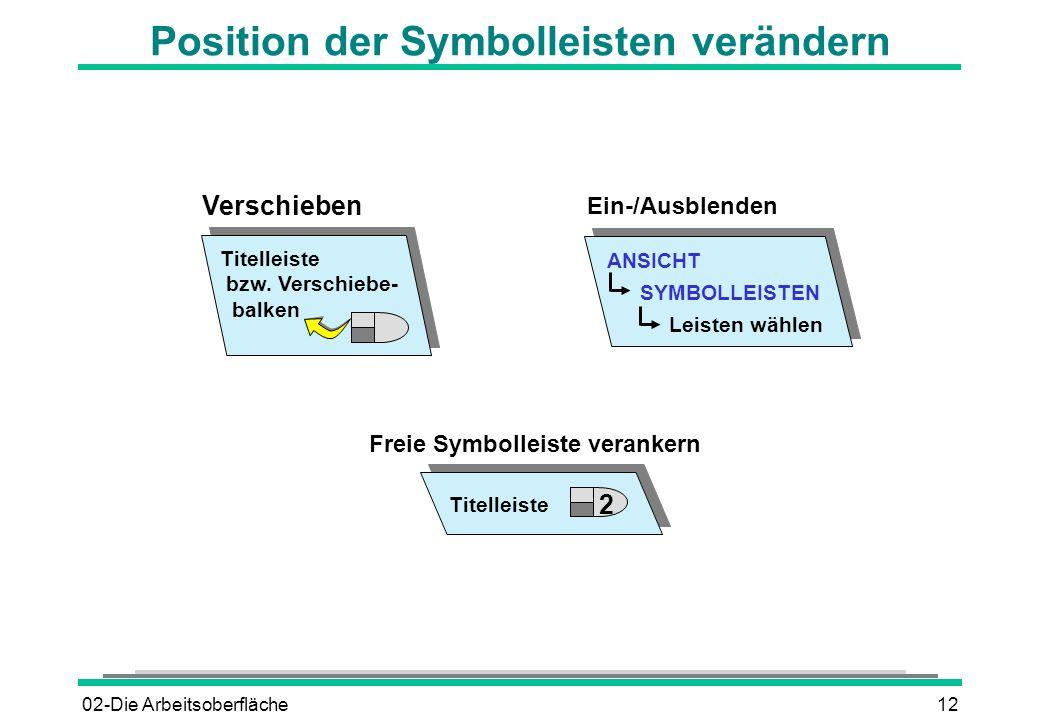 Position der Symbolleisten verändern