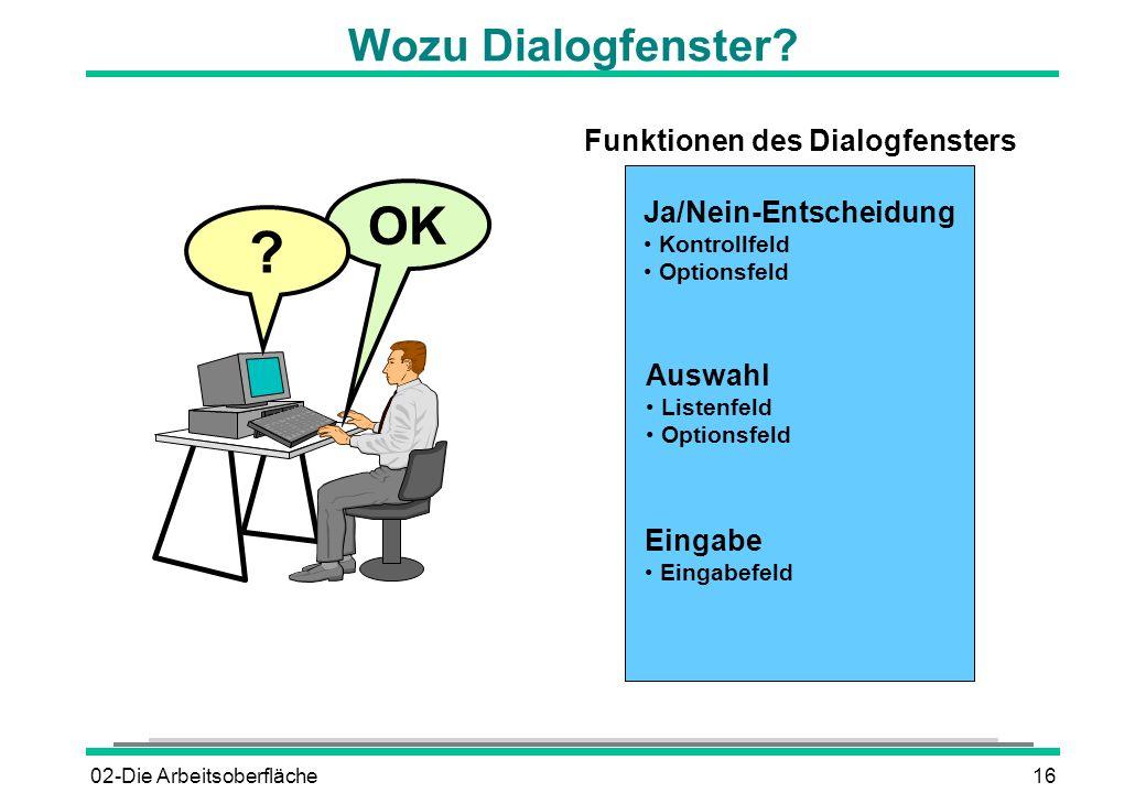 Funktionen des Dialogfensters