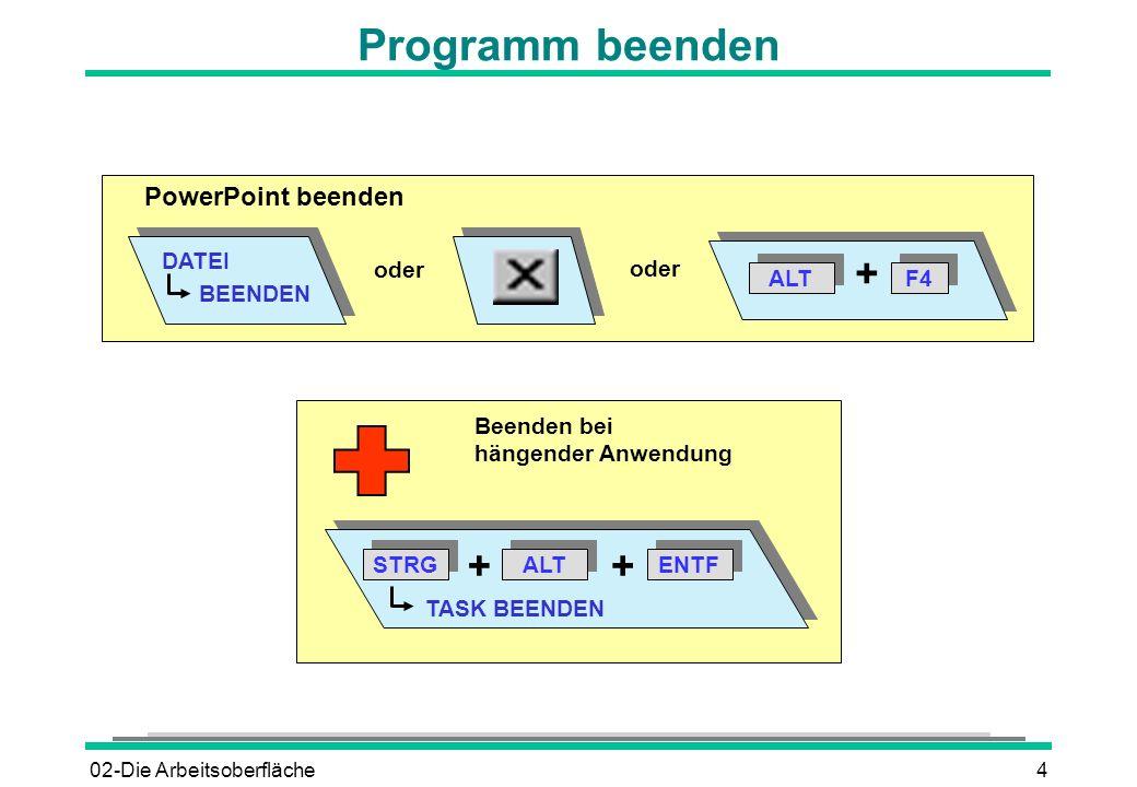 Programm beenden + + + PowerPoint beenden DATEI BEENDEN oder ALT F4