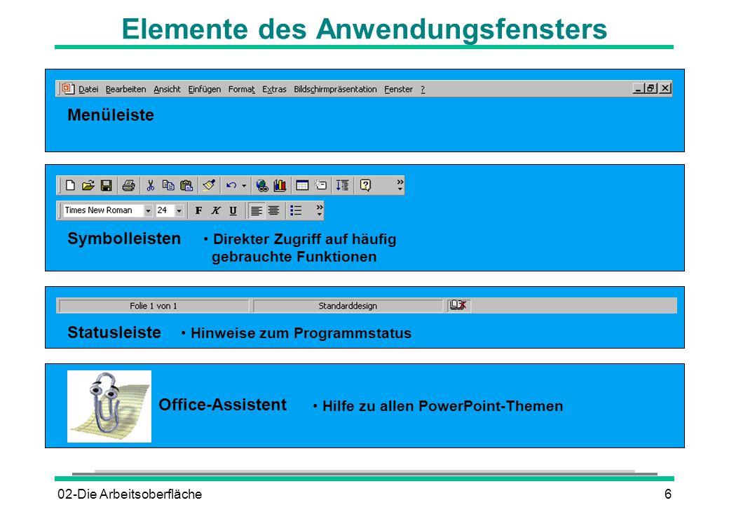 Elemente des Anwendungsfensters