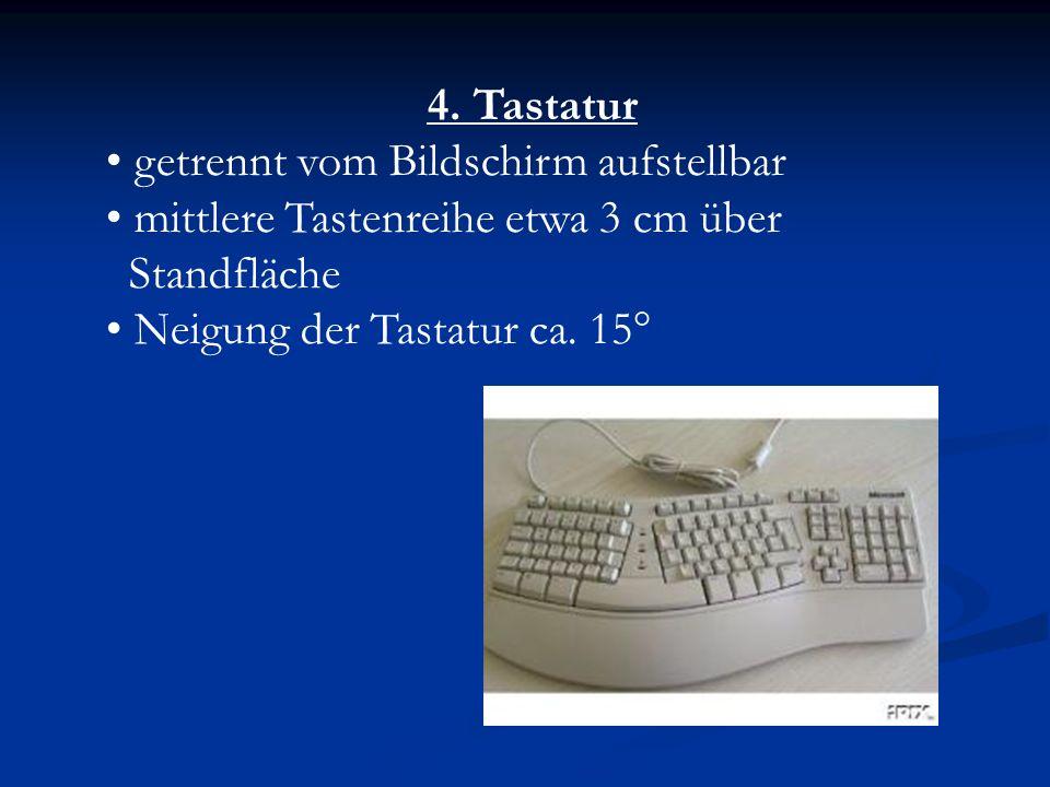 4. Tastatur getrennt vom Bildschirm aufstellbar. mittlere Tastenreihe etwa 3 cm über. Standfläche.
