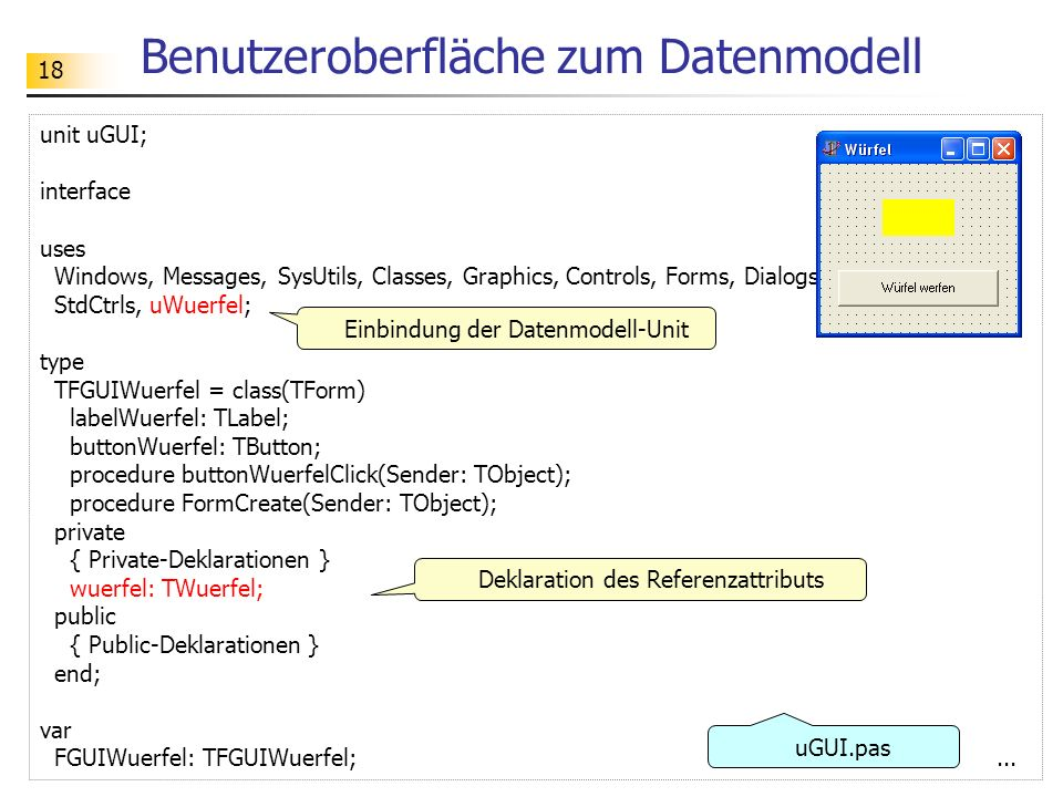 Benutzeroberfläche zum Datenmodell