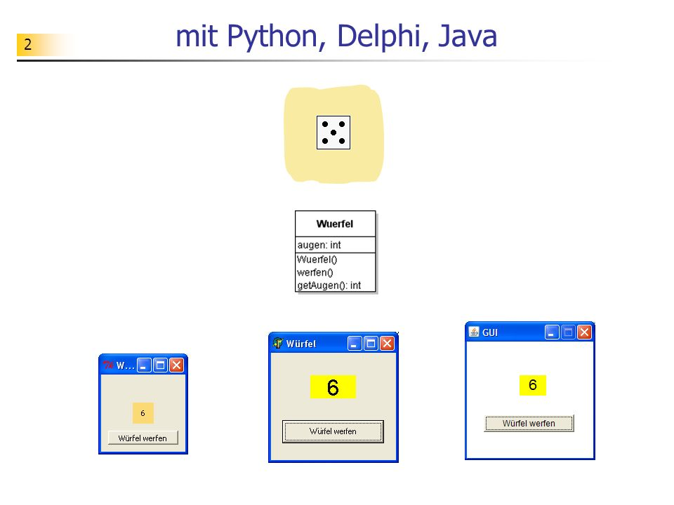 mit Python, Delphi, Java