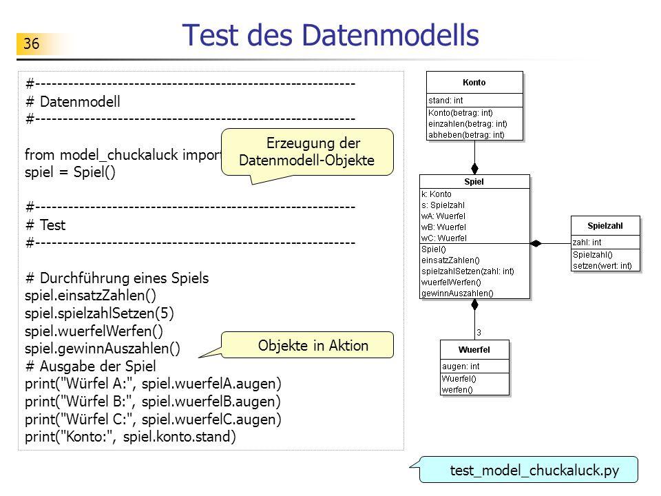 Erzeugung der Datenmodell-Objekte