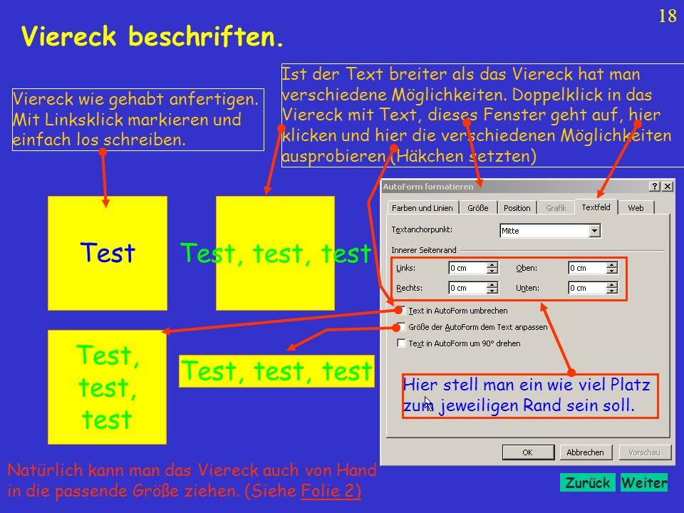 Viereck beschriften. Test Test, test, test Test, test, test