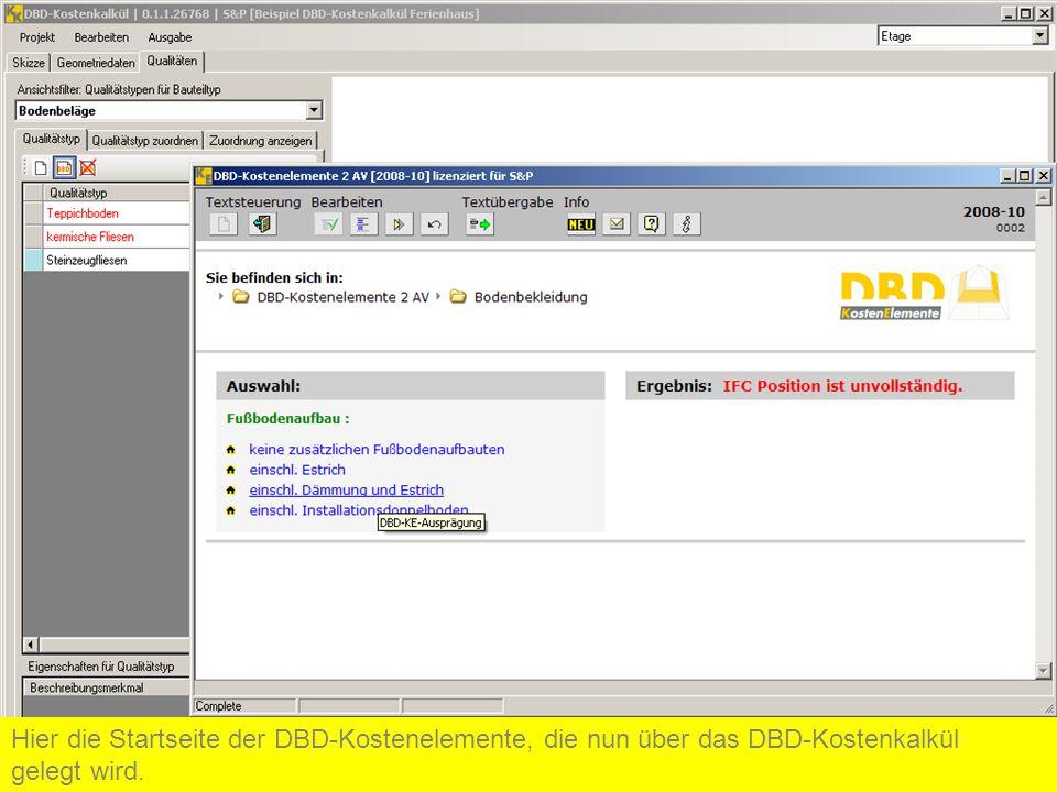 Hier die Startseite der DBD-Kostenelemente, die nun über das DBD-Kostenkalkül