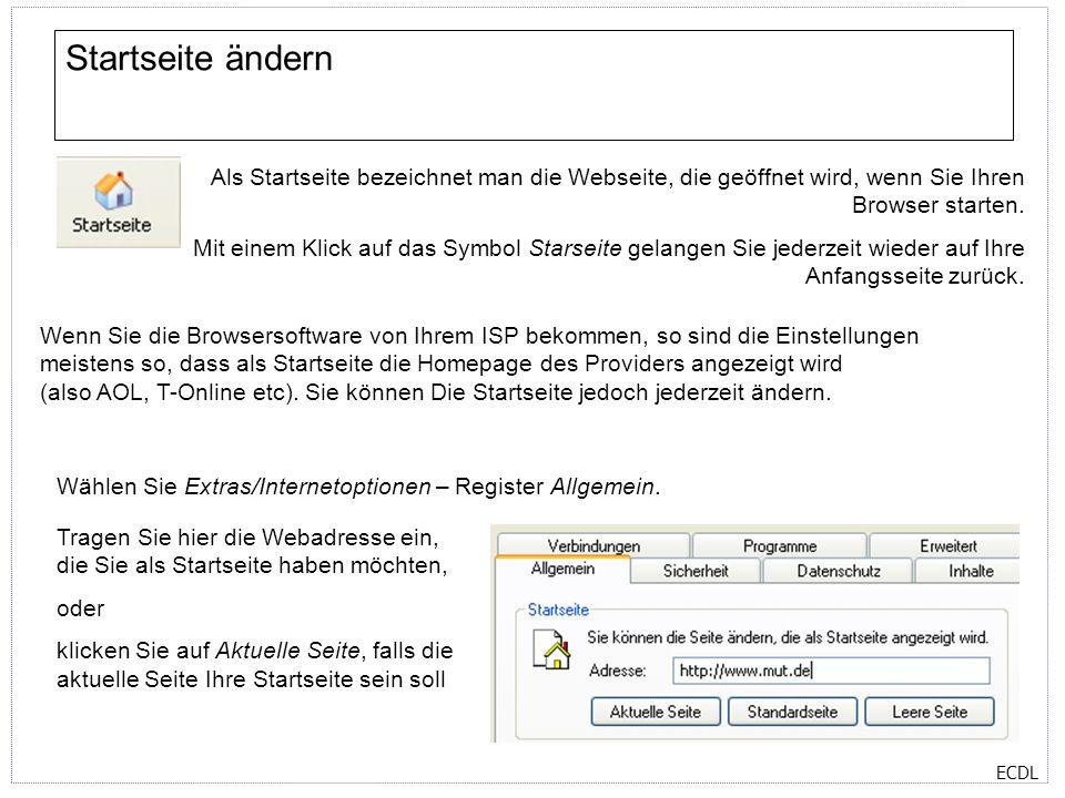 Startseite ändern Als Startseite bezeichnet man die Webseite, die geöffnet wird, wenn Sie Ihren Browser starten.