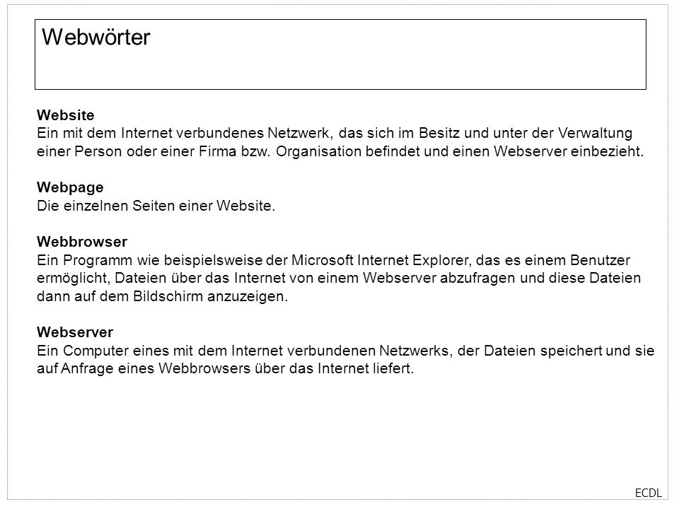 Webwörter Website.