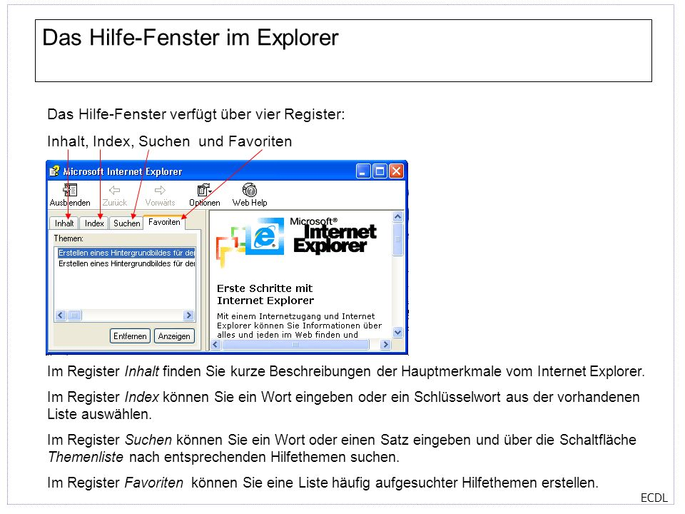 Das Hilfe-Fenster im Explorer