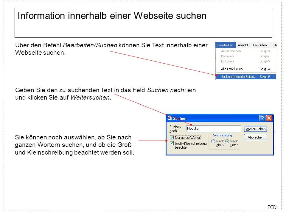 Information innerhalb einer Webseite suchen