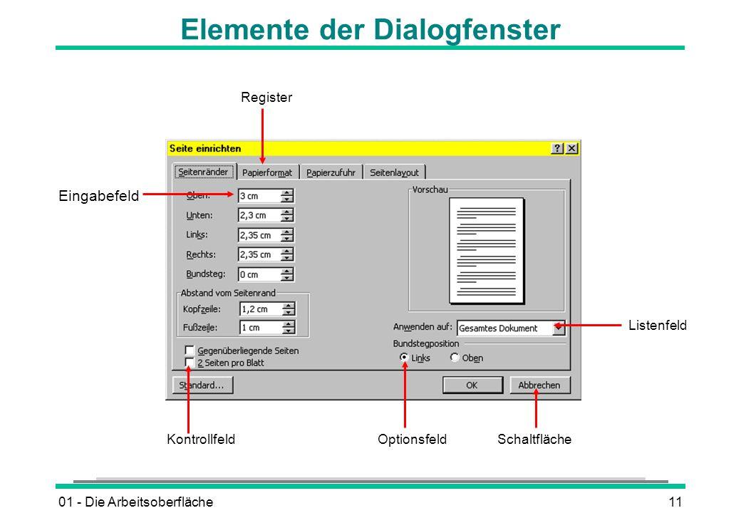 Elemente der Dialogfenster