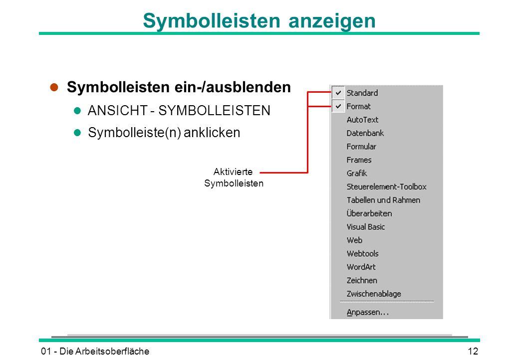 Symbolleisten anzeigen