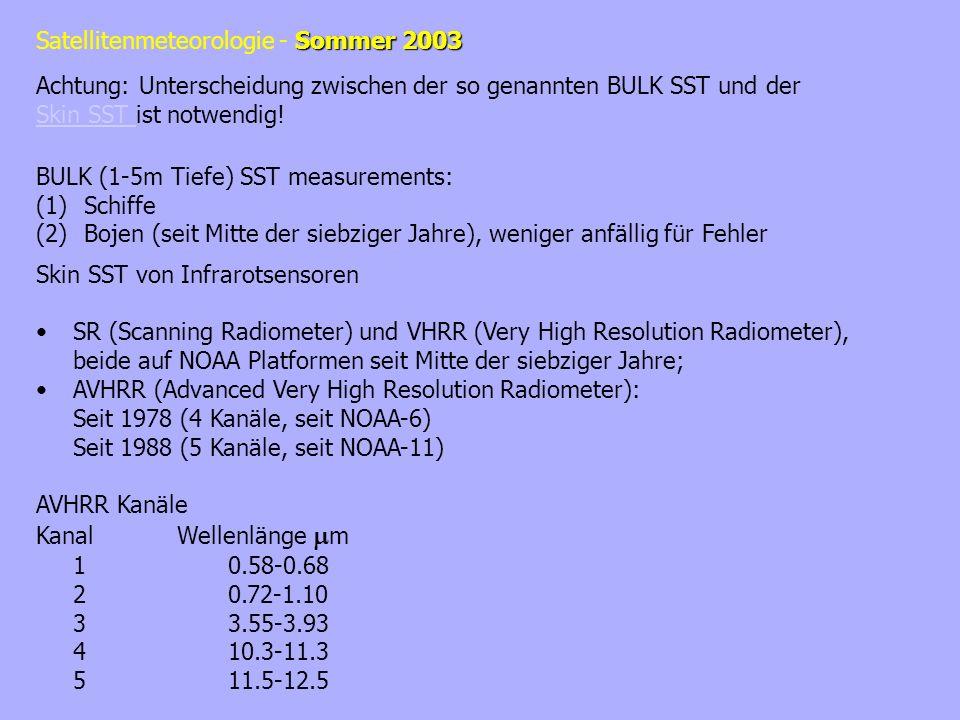 Achtung: Unterscheidung zwischen der so genannten BULK SST und der Skin SST ist notwendig!