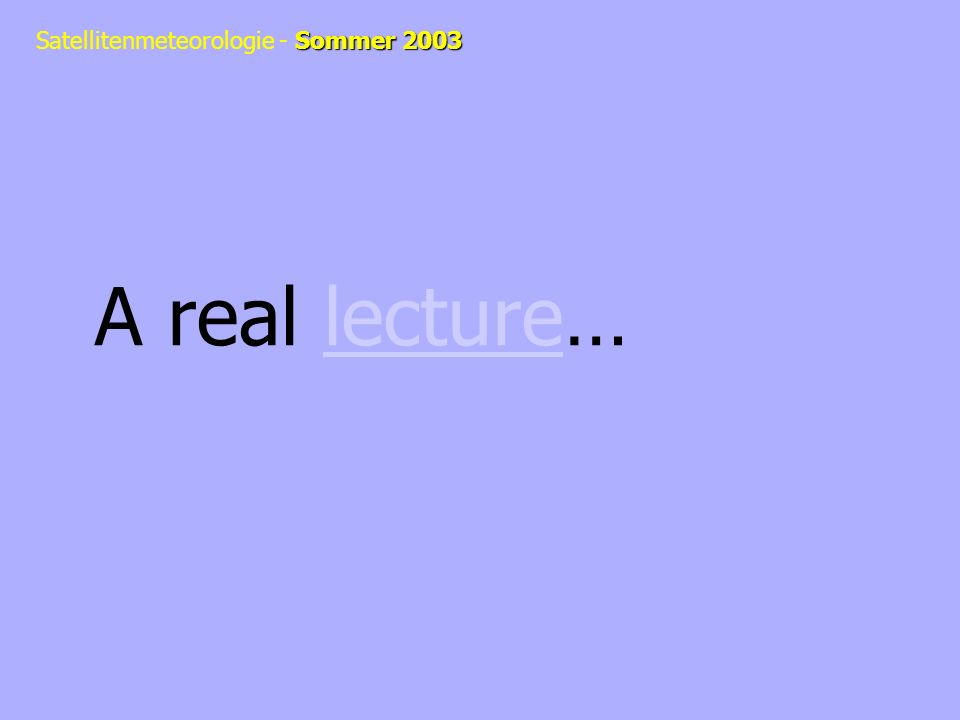 A real lecture…