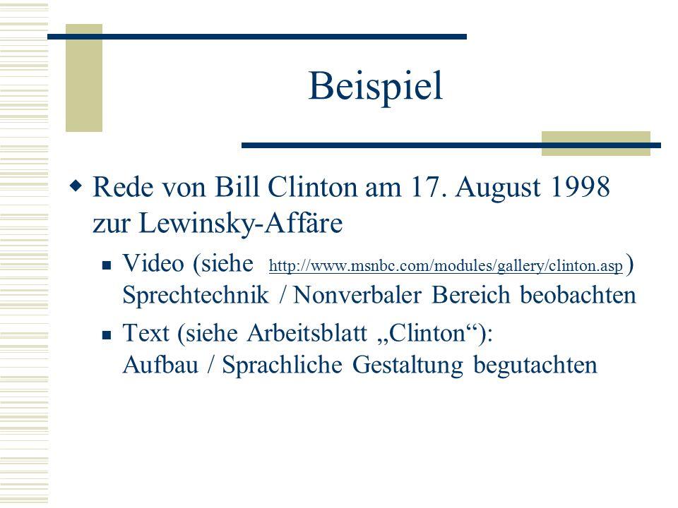 Beispiel Rede von Bill Clinton am 17. August 1998 zur Lewinsky-Affäre