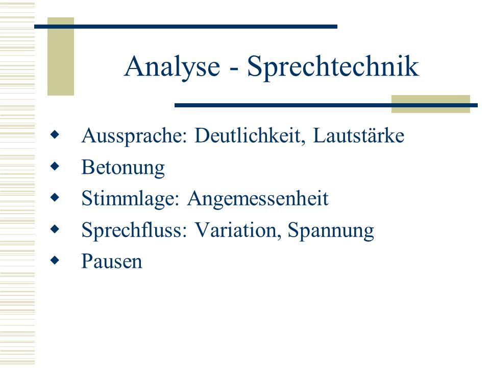 Analyse - Sprechtechnik
