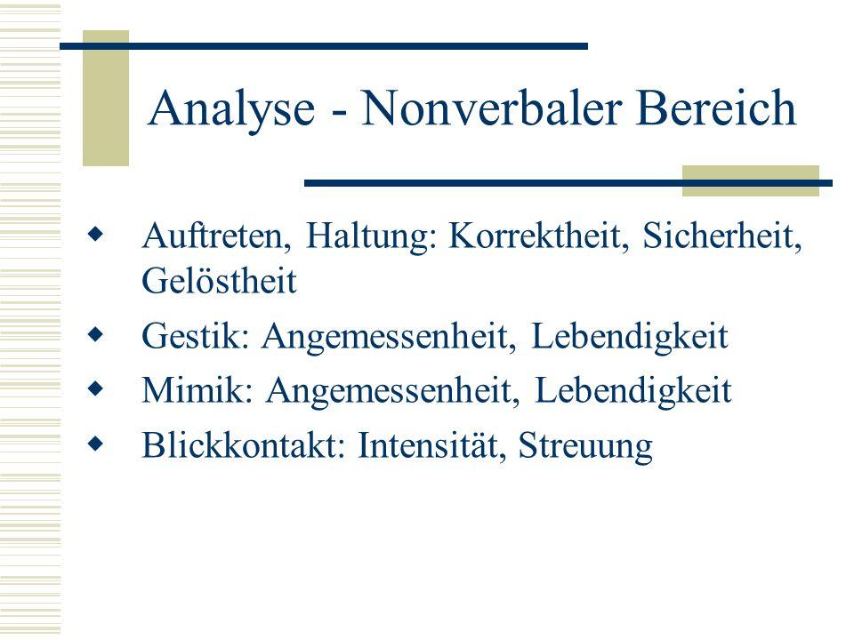 Analyse - Nonverbaler Bereich