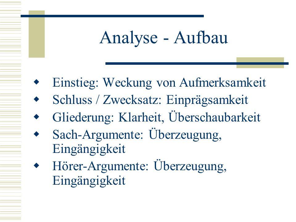 Analyse - Aufbau Einstieg: Weckung von Aufmerksamkeit